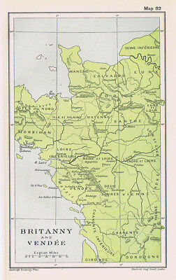 FRANCE Brittany and Vendee Antique Map 1912