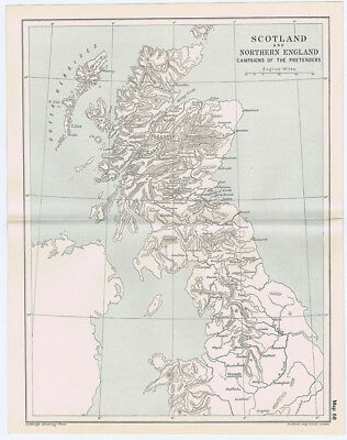 SCOTLAND & NORTHERN ENGLAND During Campaigns of the Pretenders Antique Map 1912