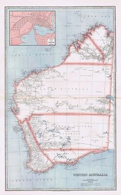 WESTERN AUSTRALIA Inset of Perth Street Plan Antique Map 1888 by AJ Scally