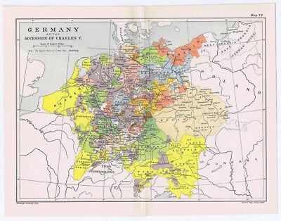 GERMANY at the Accession of Charles V Antique Map 1912