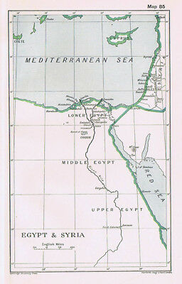EGYPT & SYRIA Antique Map 1912
