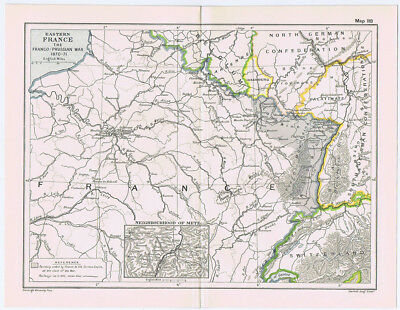 EASTERN FRANCE During the Franco Prussian War of 1870-71 Antique Map 1912
