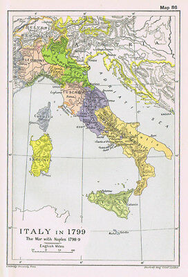 ITALY In the Year 1799 Antique Map 1912