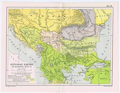 OTTOMAN EMPIRE In Europe Since 1870-78 Antique Map 1912