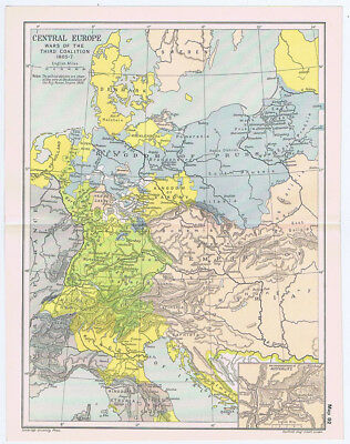 CENTRAL EUROPE During the Wars of the Third Coalition 1805-07 Antique Map 1912