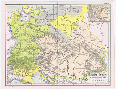 CENTRAL EUROPE During the Austrian War 1809 Antique Map 1912