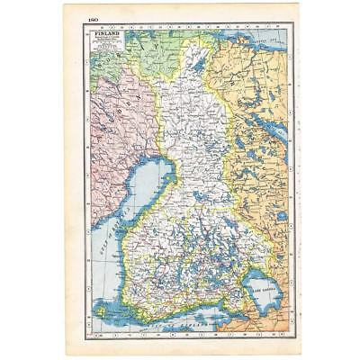 Antique Map 1920 - Finland - Harmsworth Atlas