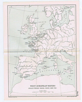 European waters During the Anglo French Naval Wars 1689-1763 Antique Map 1912