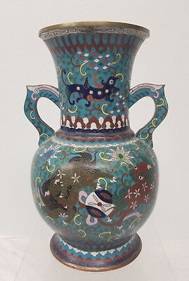 Antique Japanese Chinese Ming Style Cloisonne Copper Vase Foo Dogs