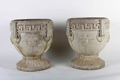 Pair of Greek Key Cement Planters
