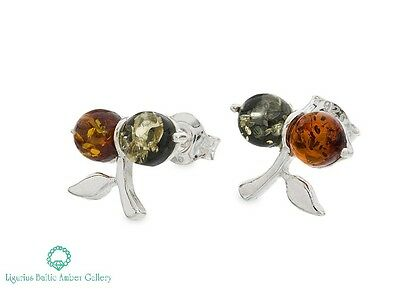 NATURAL BALTIC AMBER STERLING SILVER 925 Earrings Stud Certified & BOX