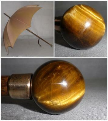 Vintage Gold Plate- Gold/Brown Canopy Umbrella W/ Tigers Eye Crystal Ball Handle