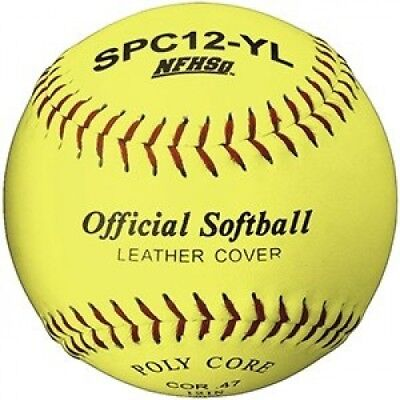 Martin Sports Softball - Optic Yellow, 30cm Leather Cover, NFHS Approved (Pack
