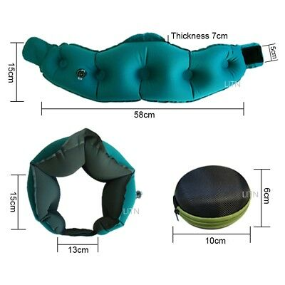 Inflatable Air Travel Pillow Airplane Neck Head Chin Cushion Office Nap Rest