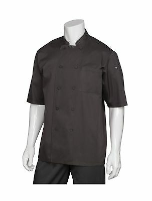 Chef Works Men's Montreal Cool Vent Chef Coat (JLCV) Black Small - NEW