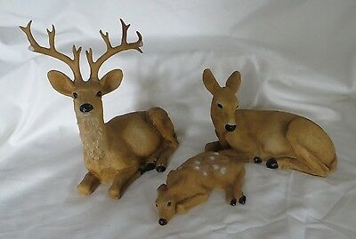 3 Piece Deer Set A Family consisting of a Buck, Doe, & Fawn Resin