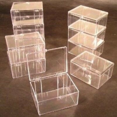 Lot of 15 Crystal Clear Hinged Plastic Trading Card Storage Boxes (100-ct) -