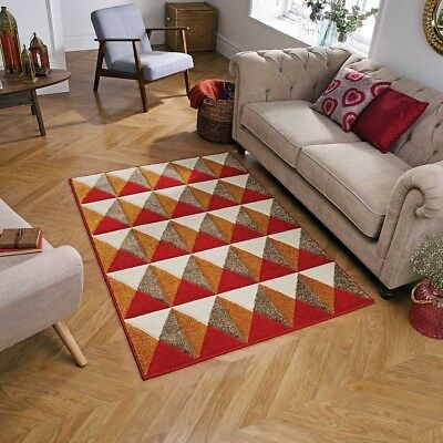 Geometric RED ORANGE Abstract Easycare Modern Contemporary NonShed Rugs & Runner