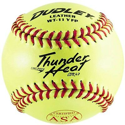 (11) - Dudley 28cm ASA Yellow Fastpitch Softball (Dozen). Free Delivery