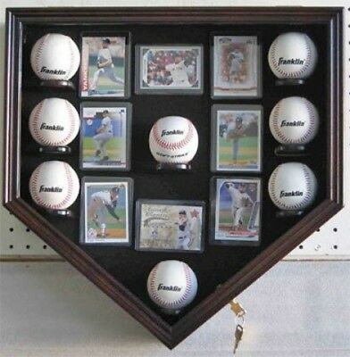 Baseball Shadow Box Display Case Holder Cabinet, with sleeves for cards, UV