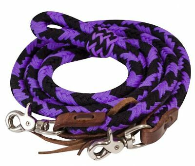 Showman PURPLE 8' Braided Nylon Barrel Reins w/ Scissor Snap Ends NEW HORSE TACK