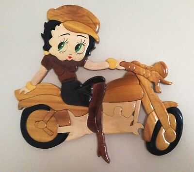Betty Boop W/boots On Motorcycle Intarsia Wood Art Decor Wall Plaque New (H24)