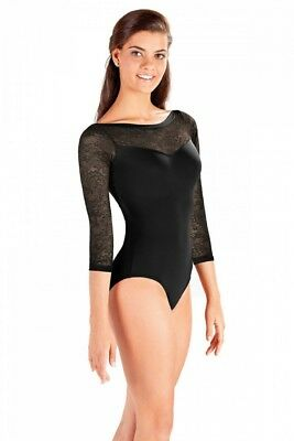 (Black, Small) - So Danca Ladies Three-Quarter Length Sleeve Lace Leotard
