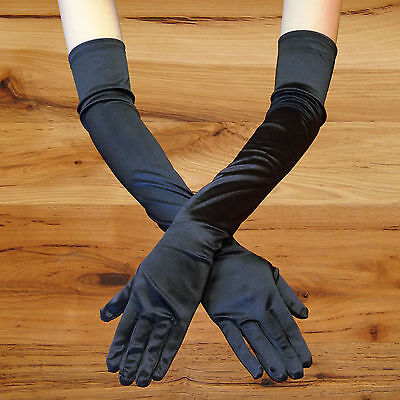 "23"" Black Long Stretch Satin Bridal Wedding Prom Party Costume Opera Gloves Sexy"