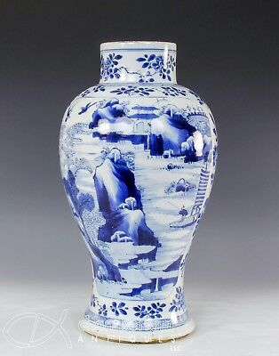 Large Antique Chinese Blue And White Porcelain Vase W Landscapes - Kangxi Period