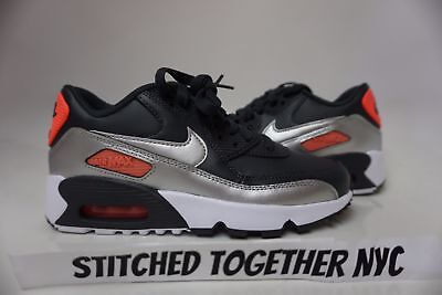 (833376-009) Gs Girl's Youth Nike Air Max 90 Ltr Anthracite/metallic Silver
