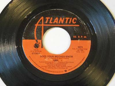 """ABBA - Does Your Mother Know / Kisses Of Fire Vinyl 7"""" 45 - Atlantic - 3574 - E"""