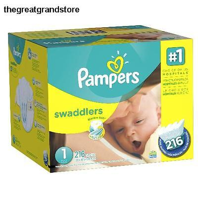 216 Count Pampers Swaddlers Diapers Size 1 Economy Pack Plus Lb Packaging Baby