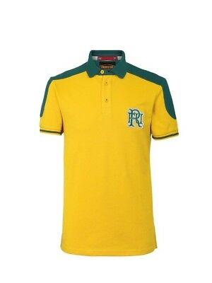 (Medium, Z72 Yellow) - Front Up Rugby Men's World Tour Short Sleeve Polo T-Shirt