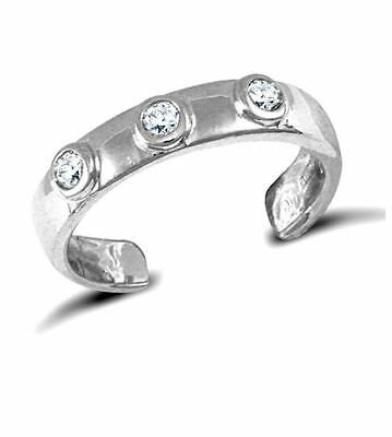 New Hallmarked Solid 9ct White Gold CZ Trilogy Band Toe Ring