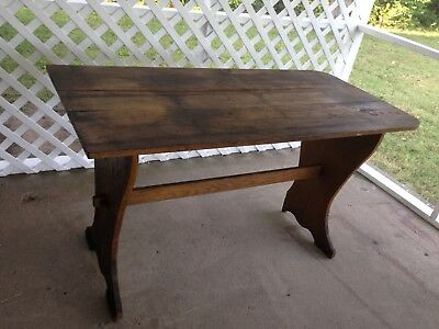 Beautiful Antique Primitive Pine Dining Farmhouse Table Mortised & Keyed S base