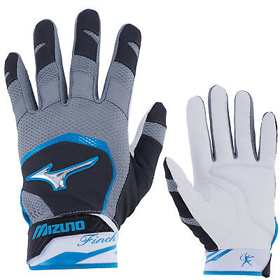 Mizuno Finch Women's Fastpitch Softball Batting Gloves - Black/Diva Blue - XL