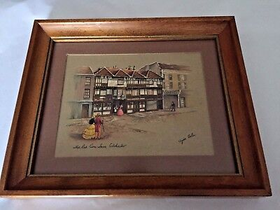 "Clyde Cole Signed Vintage ""The Red Lion Inn, Colchester"" Framed Matted"