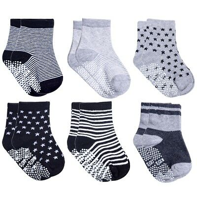 6Pairs Cotton Non Skid Anti Slip Ankle Socks Stripe Star Boy Girl Infant Toddler