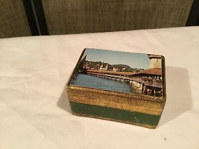 Vintage Gilded Wooden Music Box Swiss Landscape Scene Reuge Made in Switzerland