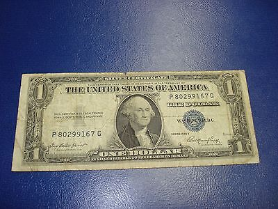 1935 E - USA $1 bill - one dollar Silver Certificate - circulated - P80299167G