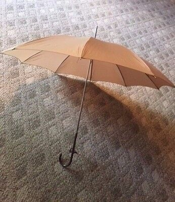 Vintage Umbrella Parasol Tan with Handle Made in Italy