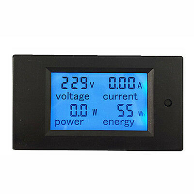 AC 80~260V 4 in 1 LCD Digital LCD Dual Panel Volt Amp Combo Meter+CT Black