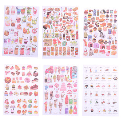 2Sheets Creative Food Drinks Diary Scrapbook Decoration DIY Stickers Toys GiftLJ