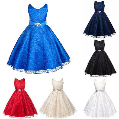 Christmas Pageant Flower Girl Dress Kids Bridesmaid Gown Formal Dresses Lace Up