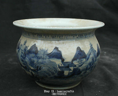 23cm Collect Chinese Old White and Blue Porcelain landscape Man pot Jar Jug Tank