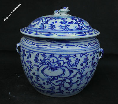 20.5cm Chinese Blue and white Old porcelain Handmade Pot Jar Jug Tank Tea Cans