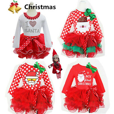 Kids Baby Girls Christmas Clothes Santa Skirt Dress Playsuit  Xmas Party Outfit