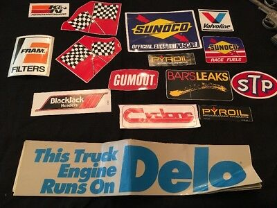 Lot Of Vintage Racing, Motor Oil Auto Sticker Decals, Sunoco, Stp, Fram, Pyroil,