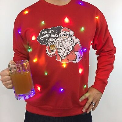 LIGHT UP UGLY Christmas Sweater Mens Santa Beer LED Tacky Holiday ...
