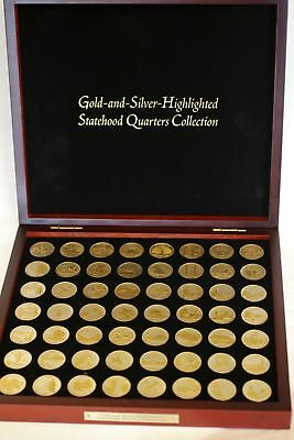 Gold And Silver Highlighted State Quarter Collection 56 Coins (1999-2009) Mint